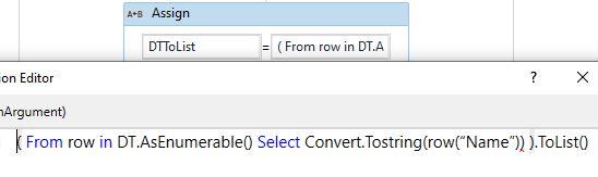 datatable column to list