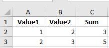 input excel values