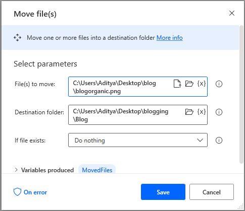 move files to a destination